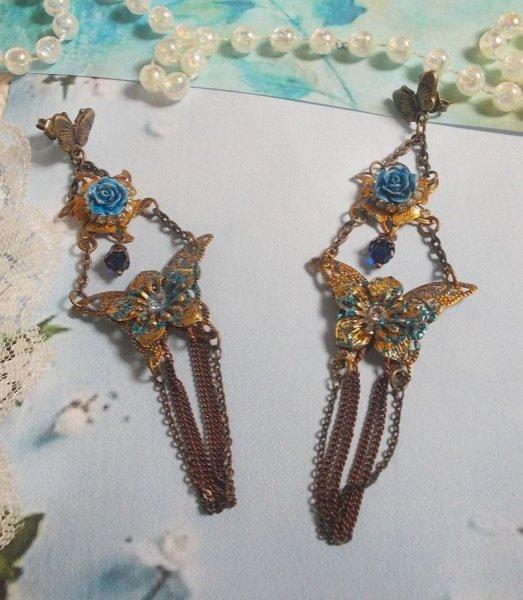 BO Papillons Irisés crées avec des Zirconium, des cristaux de Swarovski, des cabochons en Résine, divers accessoires et des perles en verre de Bohème