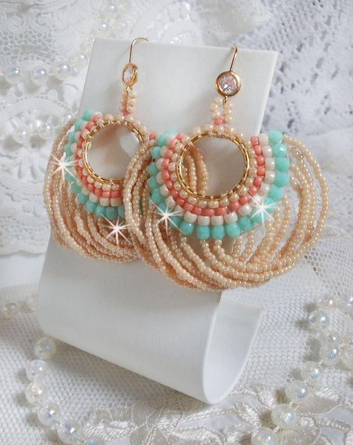 BO Ronde de Perles crées avec des rocailles et des facettes en verre de Bohème