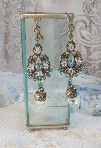 BO Lady in Blue montées avec des cristaux de Swarovski et des Zirconium avec des accessoires de couleur Bronze