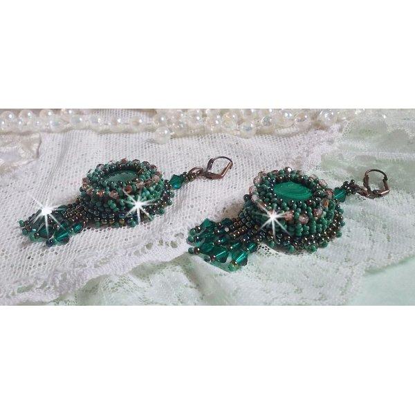 BO Emerald Vert brodées avec une malachite et des perles de qualité