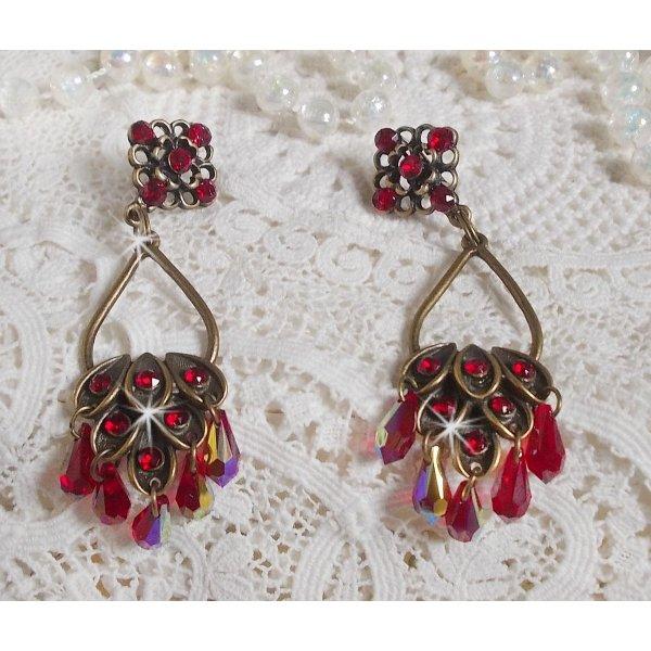 Boucles d'oreilles Collection Irrésistible Rubis avec ces cristaux de Swarovski