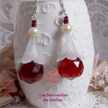 """Boucles d'oreilles cristal """"Marielle"""" effet coloré"""