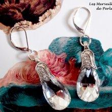 """Boucles d'oreilles Merveilles  """"Crystal"""" élégantes par le charme du cristal"""