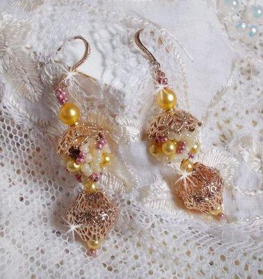 Boucles d'oreilles La Petite Robe Jaune, un éclat lumineux avec ces rocailles
