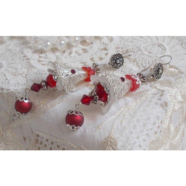 Boucles d'oreilles Tendre Rouge avec des perles rouges et argentées