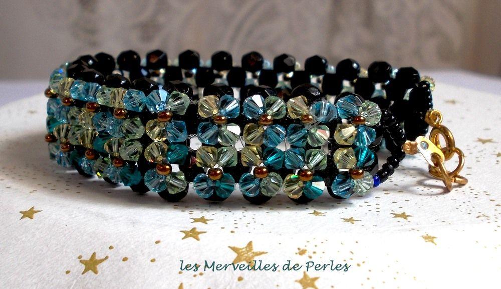 Bracelet Aurore Scintillant avec des facettes noires et des toupies de couleurs en cristal de Swarovski