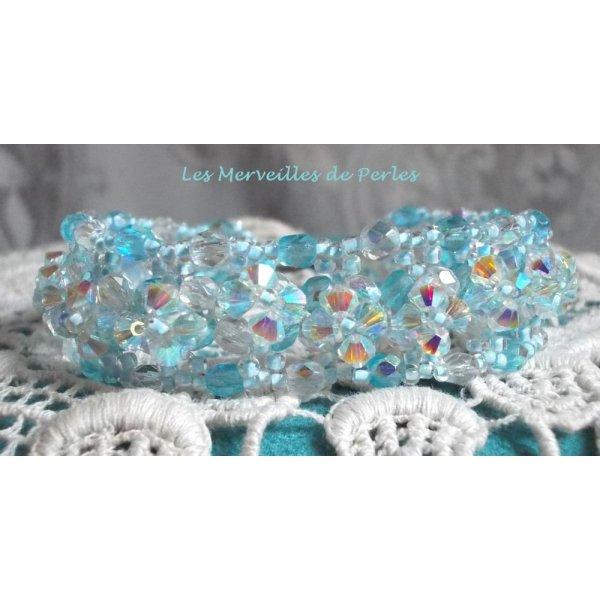 """Bracelet cristal """"Crystal Blue"""" belle transparence"""