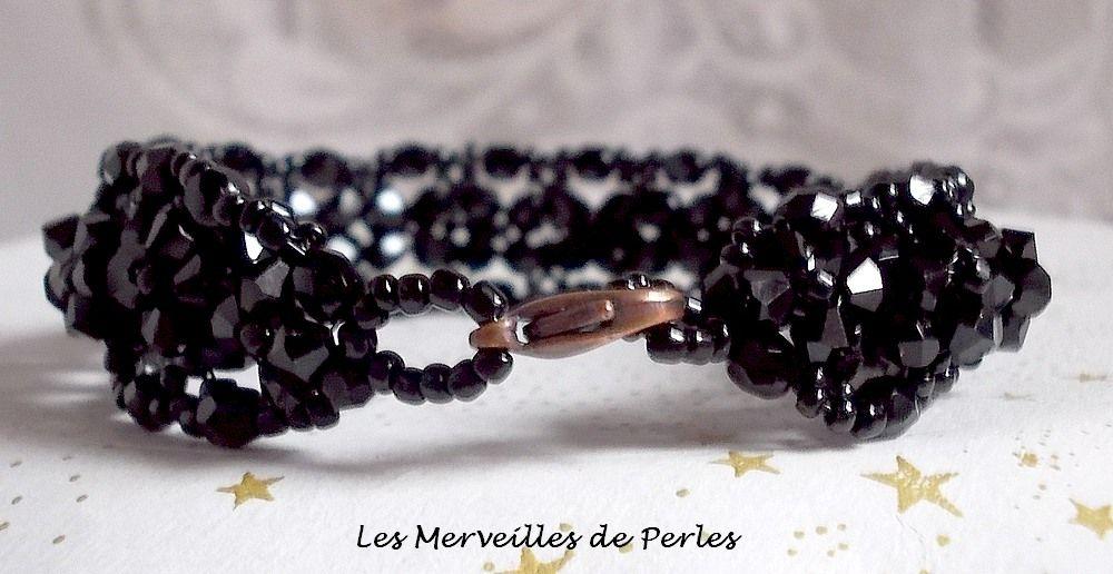 Bracelet Nuit Etoilée avec des facettes et des cristaux de Swarovski