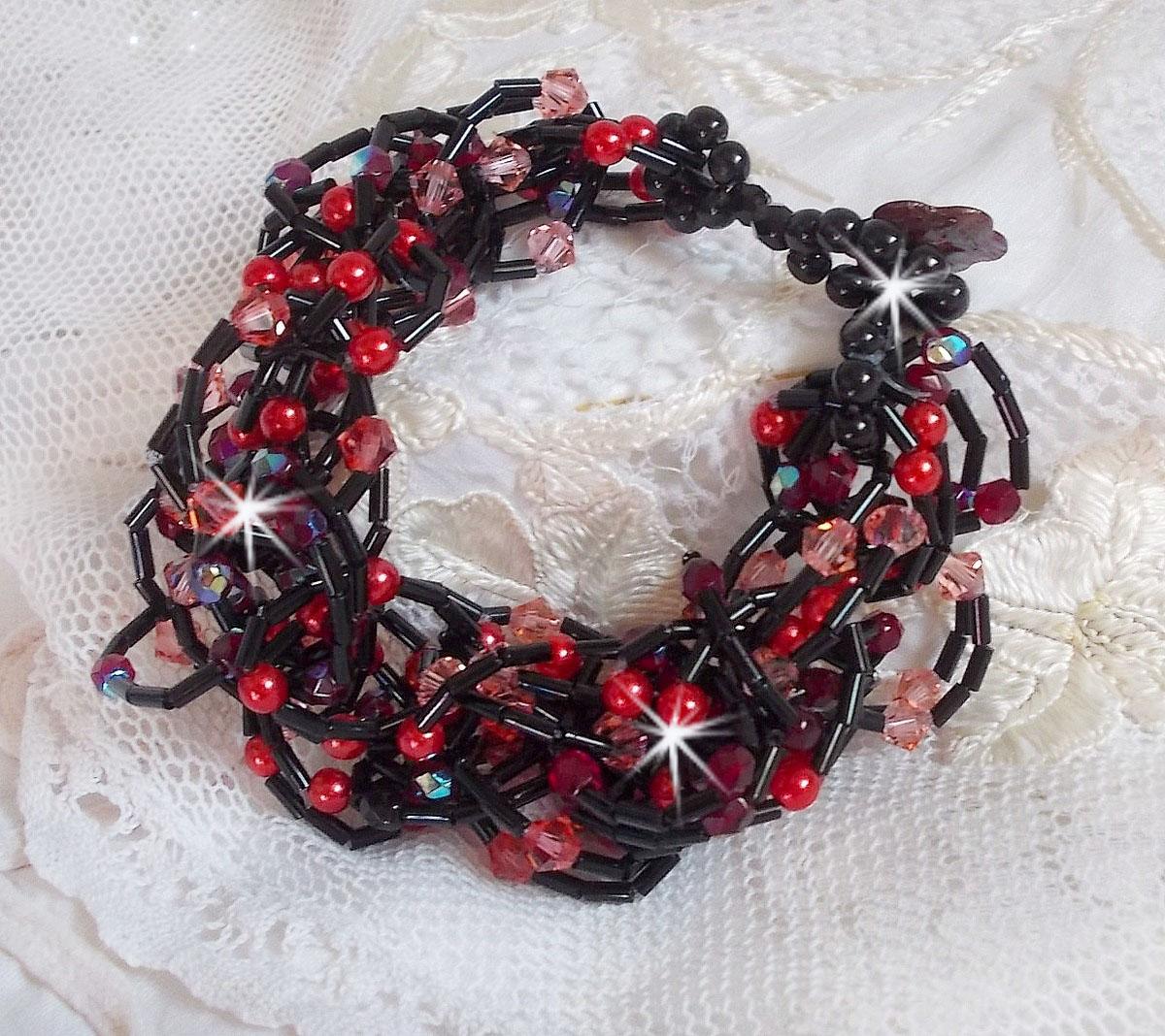 "Bracelet cristal et perles ""Feeling"" rouge et noir"