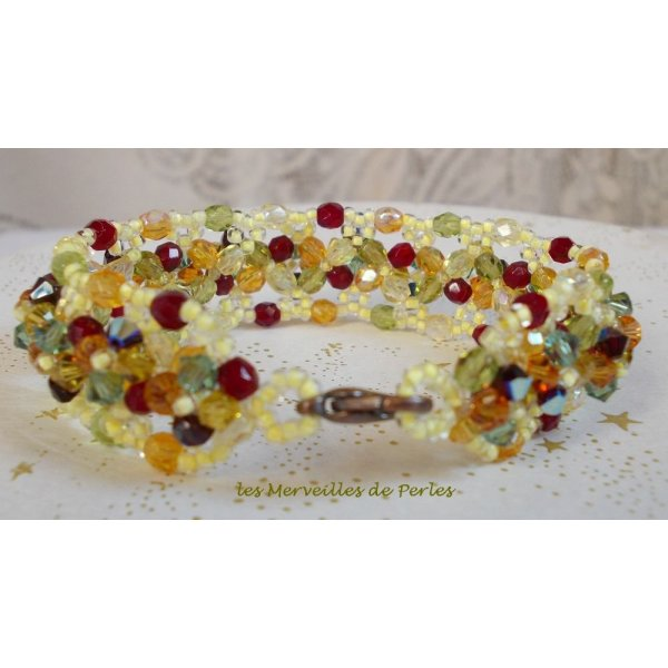"""Bracelet cristal """"Provençal"""", couleurs  chaudes sous un beau soleil"""