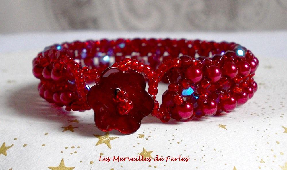Bracelet en perles Myrella avec des facettes et perles nacrées