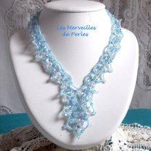 """Collier cristal  """"Lagon"""" évasion de bleu"""