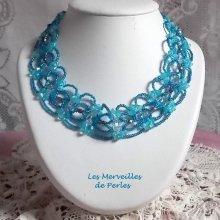 """Collier cristal """"Syracuse"""" bleu très coloré"""