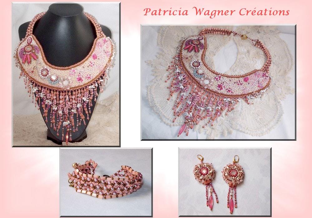 Collier plastron Rose Royale, brodé avec des perles semi-précieuses, cristal de Swarovski et diverses perles de qualité façon Haute-Couture
