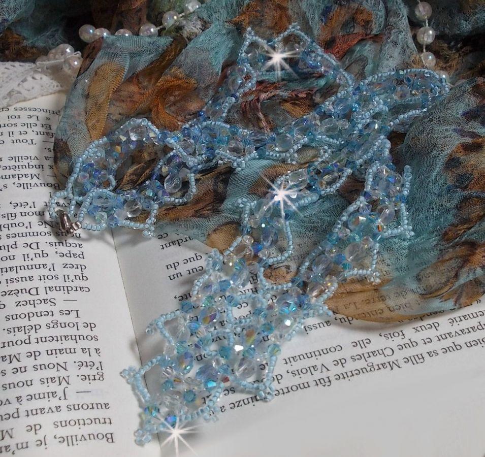 Collier Lagon avec des Cristaux de Swarovski, des facettes, des rocailles et un fermoir en Argent 925/1000