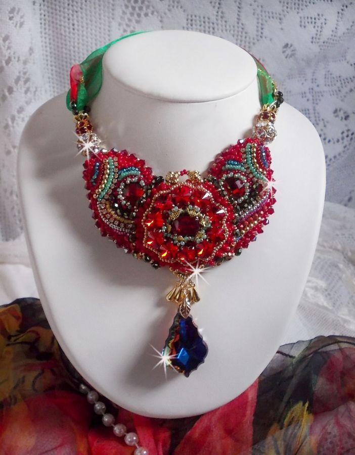 Collier Mia Haute-Couture Baroque/Vintage, Cristaux de Swarovski, plaqué or, perles diverses de qualité