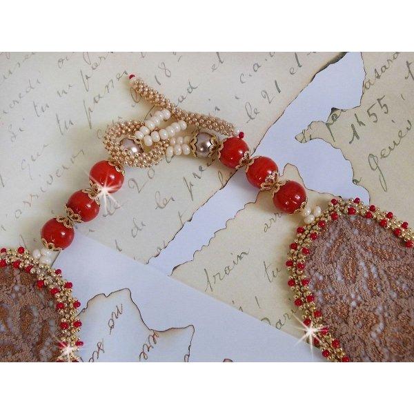 Collier plastron Renaissance brodé de rocailles Or et Rouge