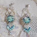 BO Blue Flowers avec des perles de Swarovski et rocailles Miyuki façon Haute-Couture