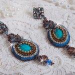 BO Ilycia Charming avec deux cabochons facettés green turquoise et des cristaux de Swarovski
