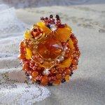 Bague Les Rêves d'Acapulco brodée avec des Cristaux de Swarovski, rocailles Miyuki, verre et  perles façon Chic Boho Ethnique