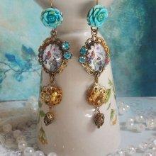 BO Jardin des Colibris avec des cabochons loupe, des accessoires de couleur Bronze et de la poudre d'Or