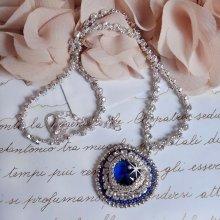 Collier pendentif avec un cristal de Swarovski bleu,  Le saphir bleu de l'Océan.