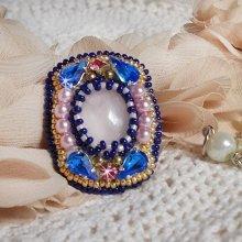 Bague Amazone Gabrielle, cristal de Swarovski, perles et rocailles