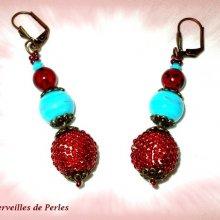"""Boucles d'oreilles en perles """"Bel'Art"""" boules verre et bois"""
