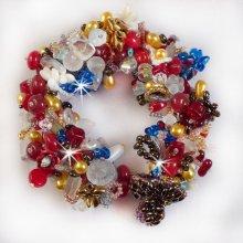 """Bracelet en perles """"Printemps coloré"""" tourbillons de perles"""