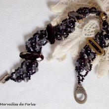 """Bracelet cristal et perles  noires """"Liberty"""", effet noir"""