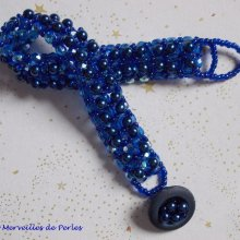 "Bracelet en perles ""Bleu Nuit"", un bleu intense"
