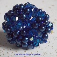"Bague cristal et perles ""Bleu Nuit"" bleu intense"