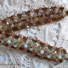 """Bracelet cristal """"Nénuphar"""" Reflet vert d'eau et doé"""