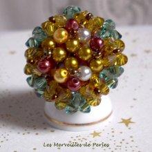 """Bague cristal et perles """"Boutons nacrées""""un jeu de perles"""