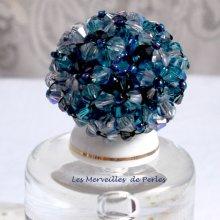 """Bague cristal """"Belle de Nuit"""" bleu cristal ces toupies"""