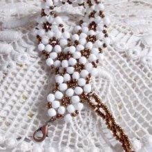 """Bracelet en perles de verre """"Horizon"""" tourbillons de facettes."""