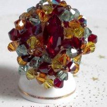 """Bague cristal """"Iroise"""" abondance de toupies"""