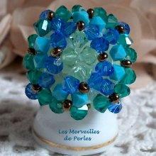 "Bague cristal ""Aquamarine"" crystal et brillance"
