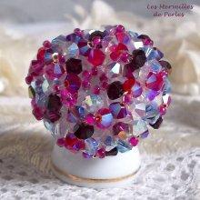 """Bague cristal """"Rose piquante"""" passion de perles"""
