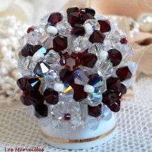 """Bague cristal """"Garnet et White"""" motif blanc et rouge"""