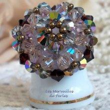 "Bague cristal ""Charmeuse"" précieuses perles"