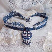 Collier pampilles Bleu-argent avec des cristaux de Swarovski